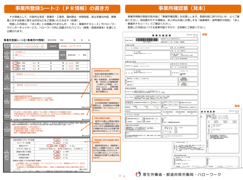 ハローワーク「事業所登録シート(PR情報)」「事業所確認票」
