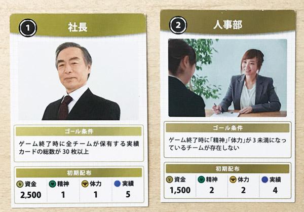 健康経営ゲーム 社長・人事部カード
